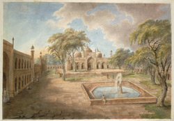 The courtyard of Ghazi al-Din Khan's Madrassah at Delhi looking west towards the mosque